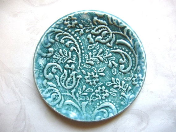 Teal Clouds Lacy Ceramic Spoon Rest