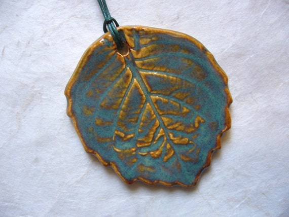 The Beginning Of Autumn Leaf Ceramic Pendant