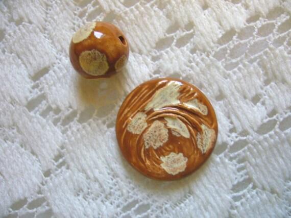 Caramel Delight Ceramic Cabochon and Bead
