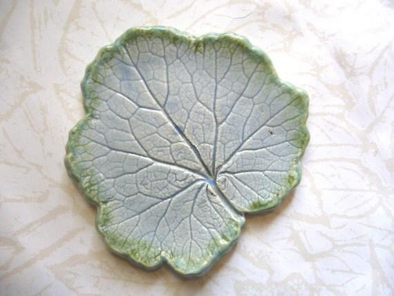 Light Blue Waters Ceramic Leaf Spoon Rest