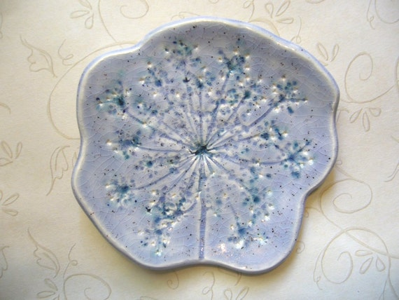 Blue Spice Queen Anne's Lace Ceramic Spoon Rest