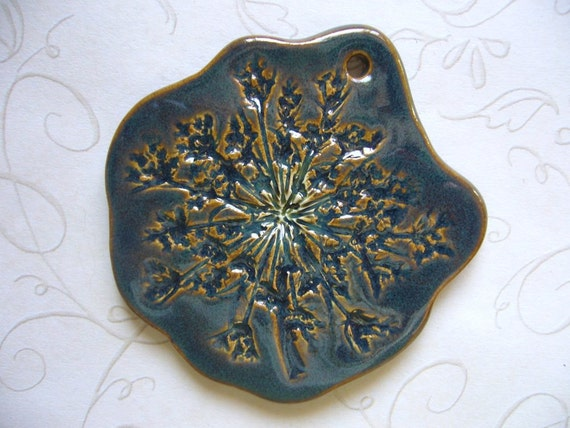 Midnight Teal Queen Anne's Lace Ceramic Pendant