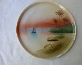 Handpainted Nippon dish sailboat and sunset