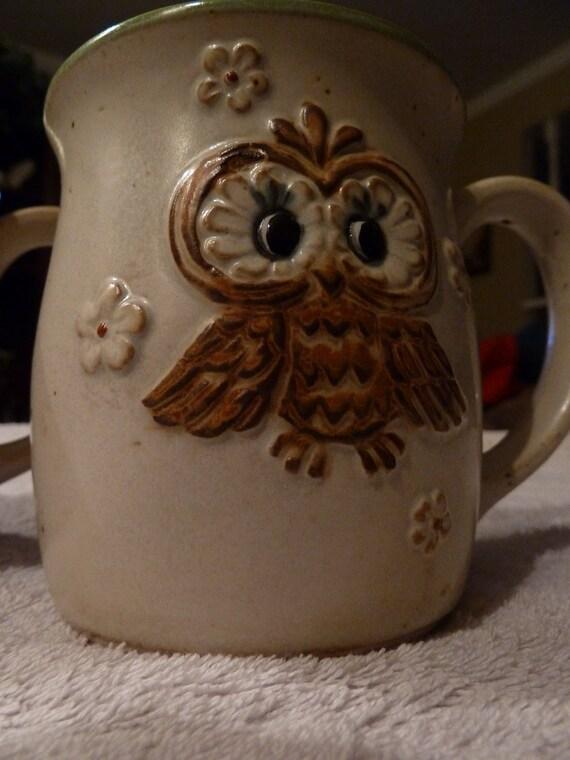 Pair of Stoneware mugs with raised OWL design