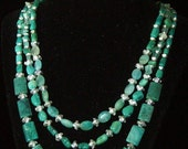 Teal and silver- 3 nesting necklaces with matching bracelet and earrings