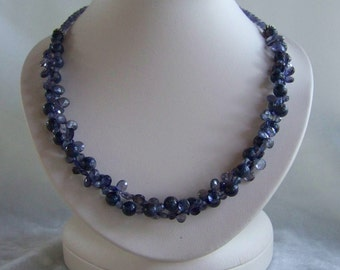 Sapphire and Iolite necklace and earrings