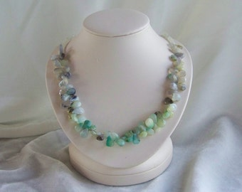 Peruvian Opal and New Jade necklace with matching earrings
