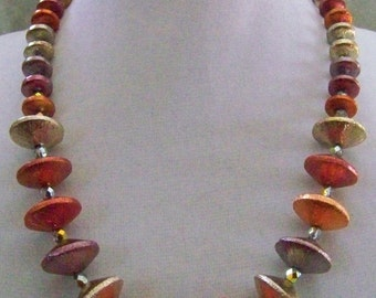 Orangy oxidized copper necklace & earrings