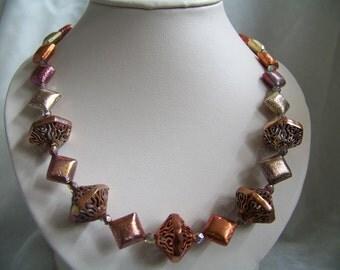 Multi-tone oxidized copper necklace, earrings