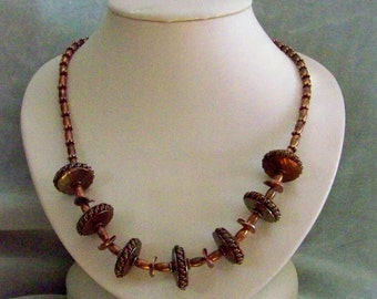 Copper and copper necklace & earrings