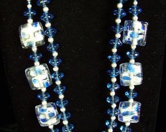 Cheery silver, foil and blue 2-strand necklace and earrings
