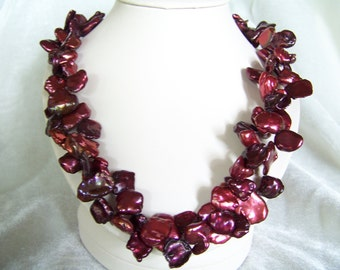 Lucious cranberry Kieshi pearl necklace and earrings