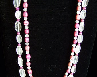 Feminine bright and light pink 2-strand necklace w earrings