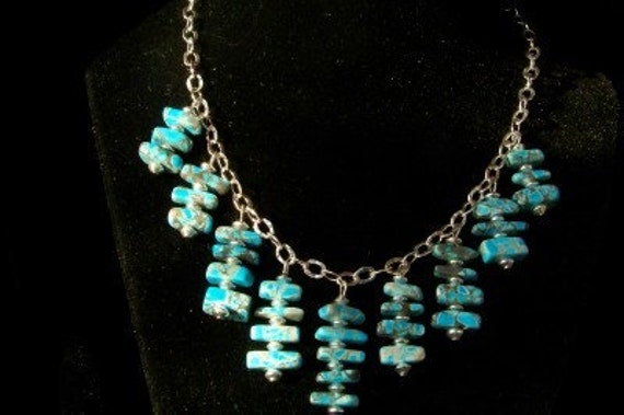 Playful turquoise necklace w earrings