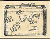 World Travel Suitcase Rubber Stamp, Paris, New York, made by JudiKins