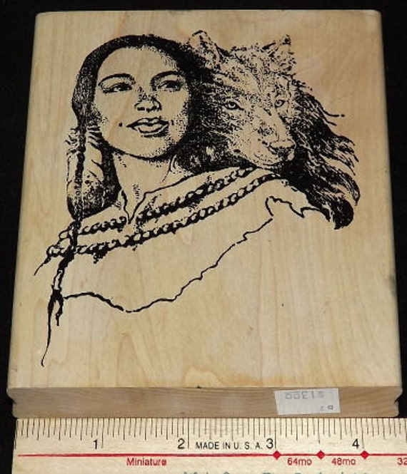 Large Rubber Stamp Native American Woman with Wolf