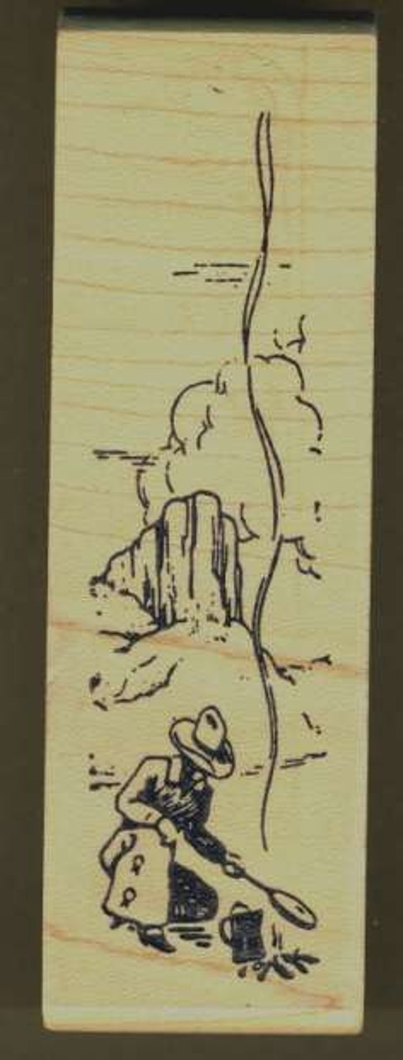 Cowboy Southwest Scene Rubber Stamp, Mesa, Wood Mount, Graphic Rubber Stamp