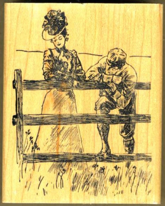 Victorian Couple Courting at the Fence Rubber Stamp, Wood Mounted, Embossing Arts