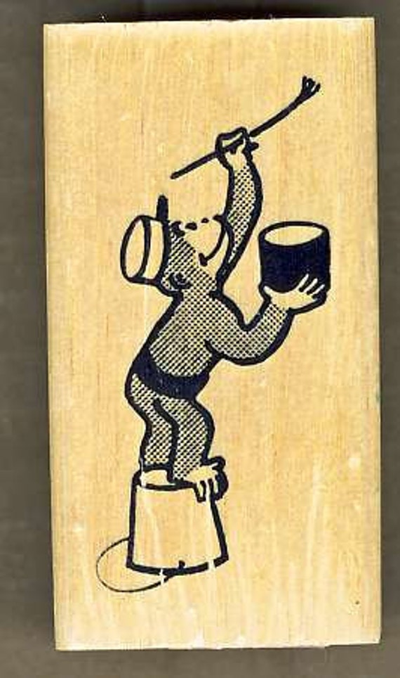 Curious George Rubber Stamp, George is Painting, Wood Mount, made by Kidstamps