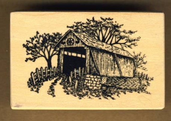 Covered Bridge Rubber Stamp, Rustic Rural Scene, made by PSX 1988