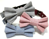 Bowtie Dog Collar- Choose Black, Red or Navy Seersucker