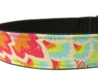 Dog Collar Pink, Aqua, Orange Pretty in Peacock
