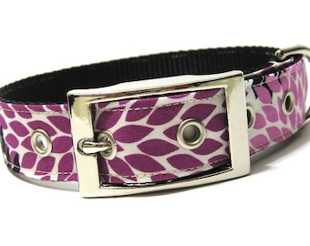 Dog Collar...Fuchsia Flower Petals