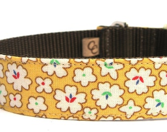 Dog Collar with metal buckle- Golden Flower Blossoms