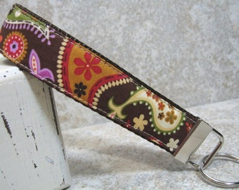 Wristlet Key Chain -- Brown Paisley