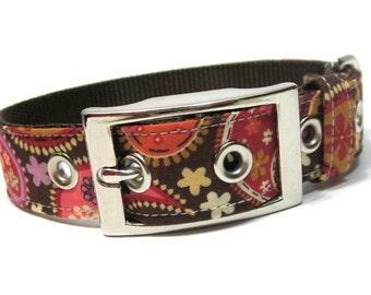 Paisley Dog Collar with Metal Buckle- Brown Paisley