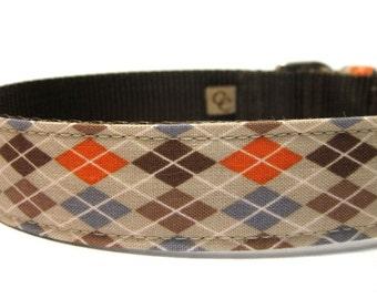 Argyle Dog Collar...Orange and Brown Argyle
