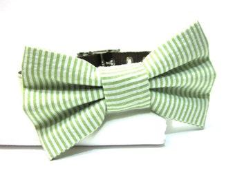 Classic Lime Green Seersucker Dog Collar Bow Tie