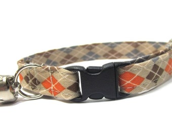 Cat Collar- Orange Argyle