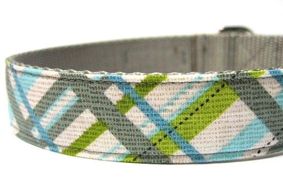 Plaid Dog Collar- Silver Stud