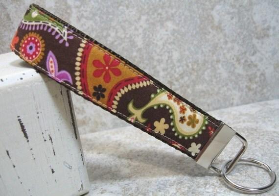Wristlet Key Chain -- Brown Paisley
