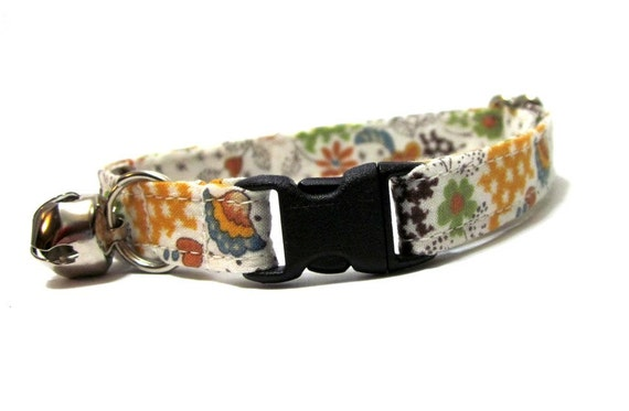 Cat Collar- Floral Fusion in Mustard
