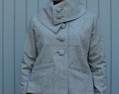 Women's high collar grey wool jacket - medium