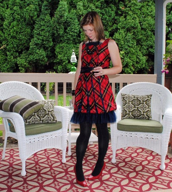 Sample Sale - Plaid Holiday Dress with tulle