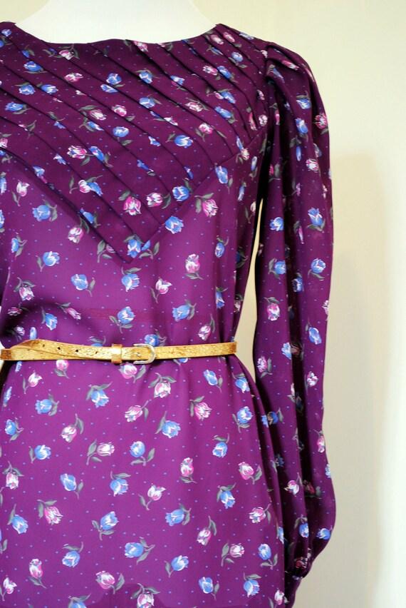 Vintage Charlee Allison long sleeve 80's shift dress - Purple - Size 7/8