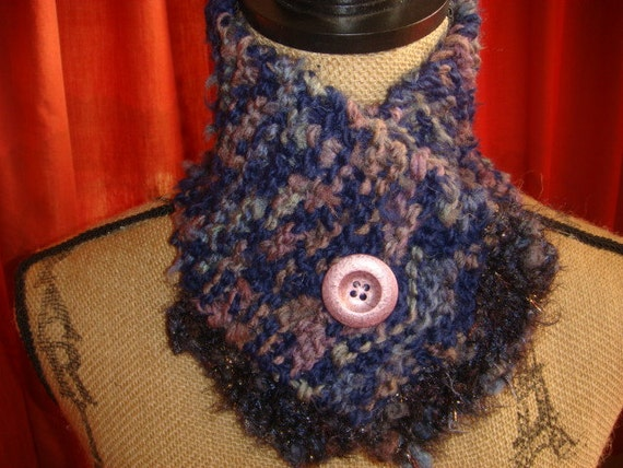 Blue and Rose Neck warmer with Rose Pearlized Button