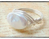 Oval freshwater pearl ring..Free shipping and gift box