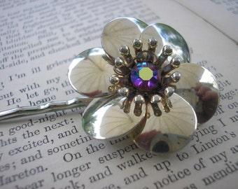 Gold Flower, AB Rhinestone Center Flower Bobby Pin, Hair Clip, Repurposed Vintage Clip Earring