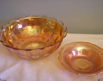 Vintage Carnival Glass Bowls, Set of 2