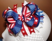 July 4 Stars and Stripes Boutique Hair Bow