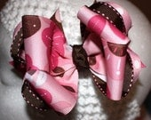 Pink and Brown Boutique Layered Hair Bow