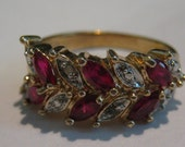 Rubies Vintage Gold Fill Sterling Silver Cocktail Ring with mulitple Ruby and Cubic Zirconia Stones Ladies Size 8