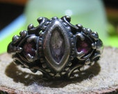 Victorian Three Stone Vintage Sterling Silver Ring with Amethyst Gemstones Ladies Ring Size 9