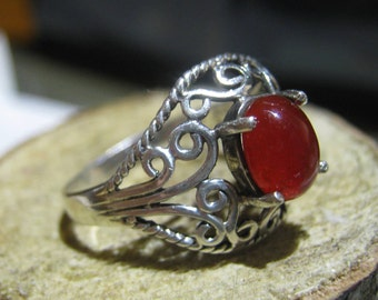 Vintage Sterling Silver Filigree Ring with Lab Created  Ruby Red Stone Ladies Ring Size 7 1/2