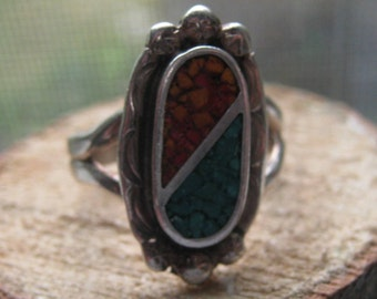 Vintage Authentic Old Pawn Sterling Silver Southwestern Ladies Ring with Coral and Turquoise Size 7 1/2