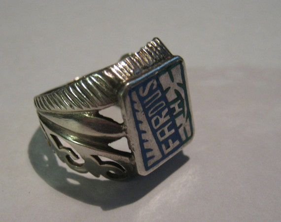 Vintage Sterling Silver Mens or Ladies Ring with Farous H Designed Across Setting Irish Size 7